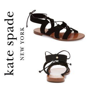 KATE SPADE Suno Black Gladiator Lace Up Sandal 7